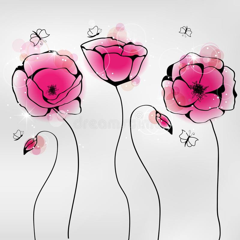 Poppy. Vector pictures with pink poppy flowers and butterflies royalty free illustration