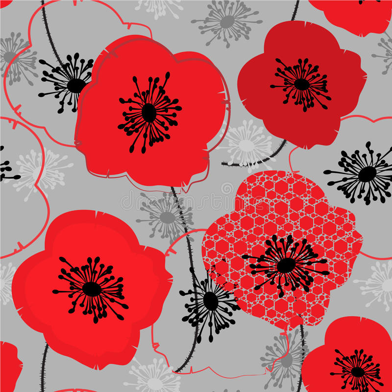 Poppy. Abstract seamless pattern with poppy vector illustration