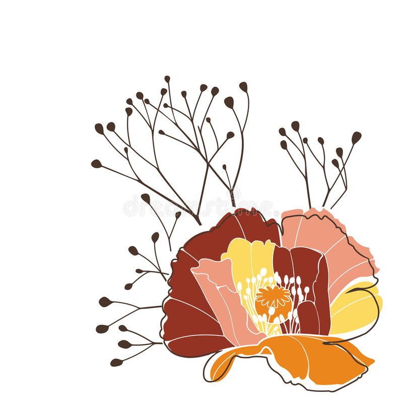 Poppy 3. Vector design element; poppy flower royalty free illustration