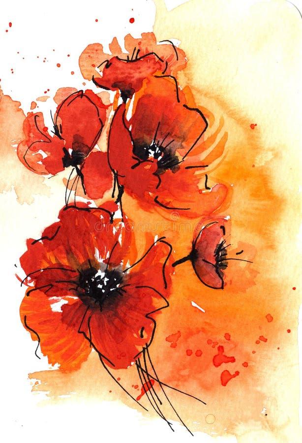 poppy abstrakcyjna akwarela ilustracja wektor