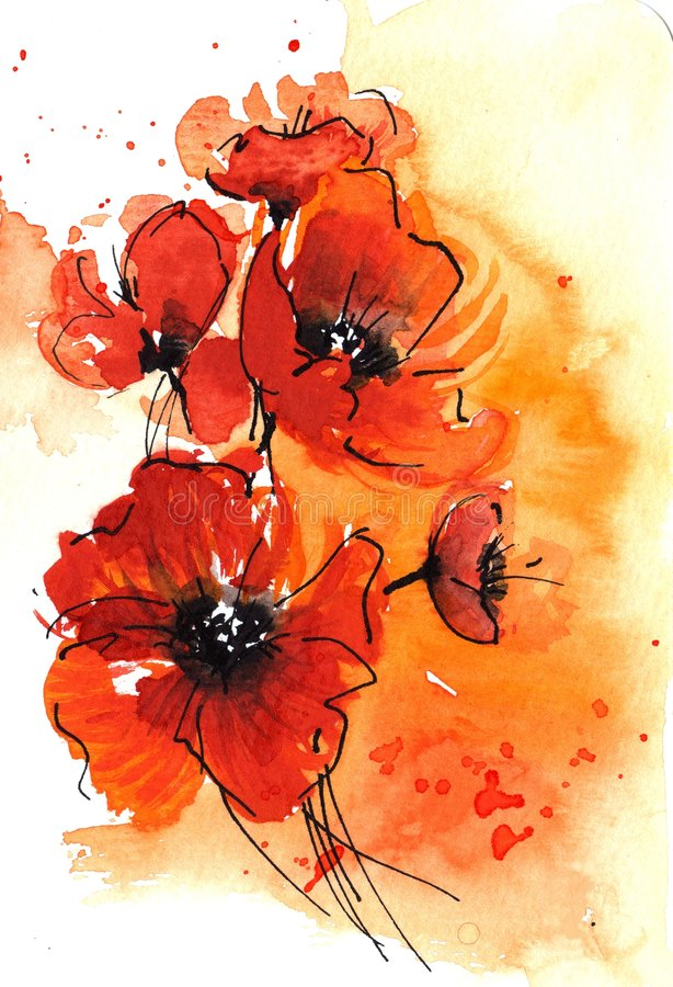 poppy abstrakcyjna akwarela