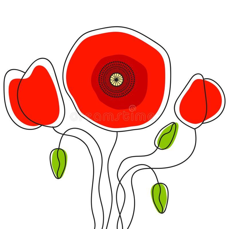 Poppy - Poppy Appeal. Modern Paper Design Isolated On White. Decorative Vector Flower. For Remembrance Day, Memorial Day, Anzac Day In New Zealand, Australia stock illustration