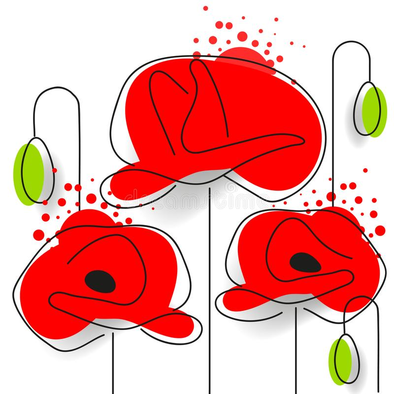 Poppy - Poppy Appeal. Modern Paper Design Isolated On White. Decorative Vector Flower. For Remembrance Day, Memorial Day, Anzac Day In New Zealand, Australia royalty free illustration