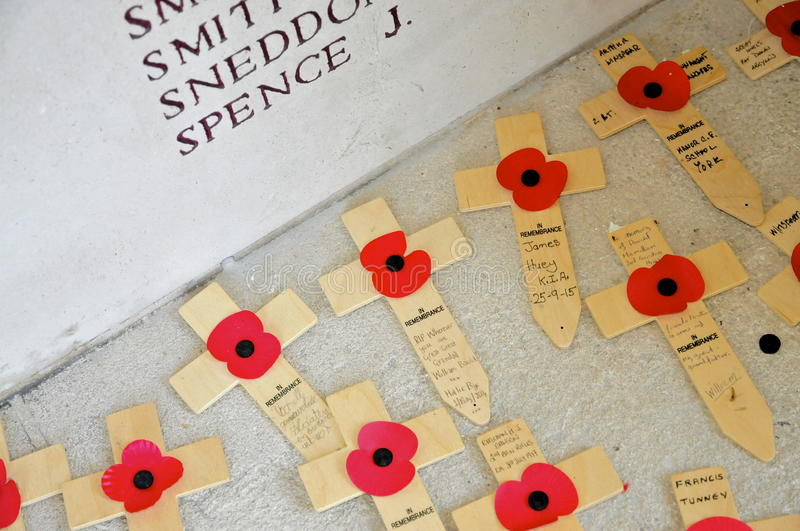 Poppy Crosses dedicated to missing soldiers of WW1 stock images
