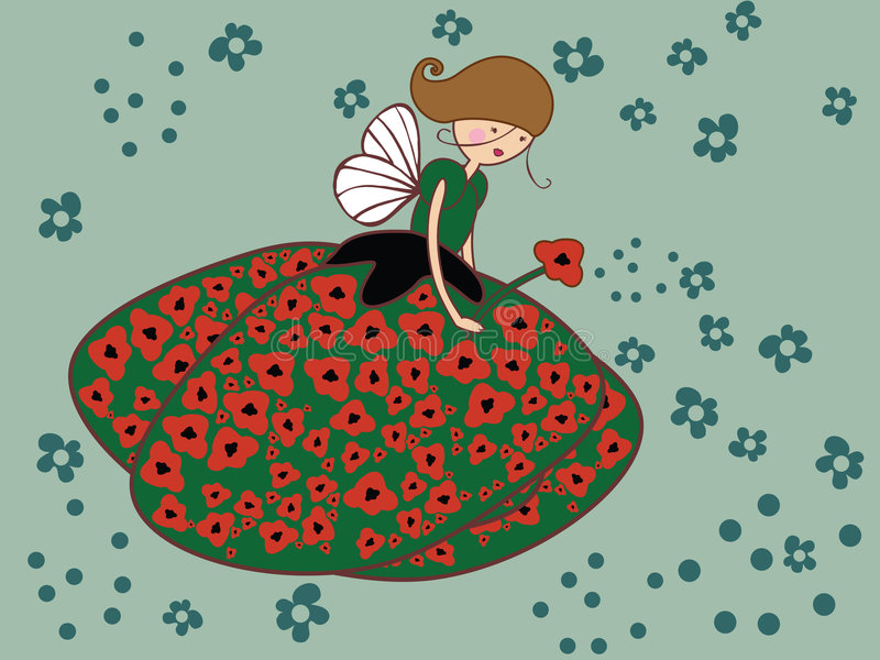 Download Poppy fairy stock vector. Image of offspring, petal, nature - 7505967