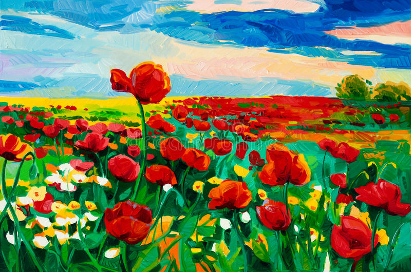 Poppy fields. Original oil painting of Opium poppy( Papaver somniferum) field in front of beautiful sunset on canvas.Modern Impressionism royalty free illustration