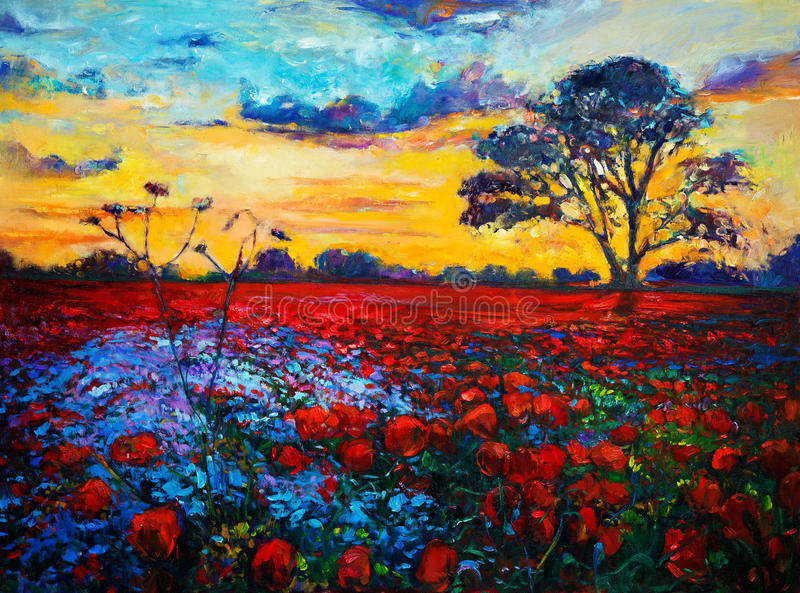 Poppy fields. Original oil painting of Opium poppy( Papaver somniferum) field in front of beautiful sunset on canvas.Modern Impressionism stock photo