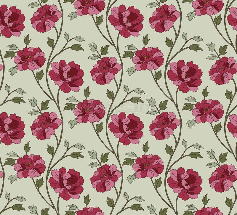 Poppy Floral Pattern japonesa stock de ilustración