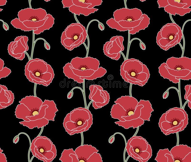 Poppy Floral Pattern japonesa ilustração stock