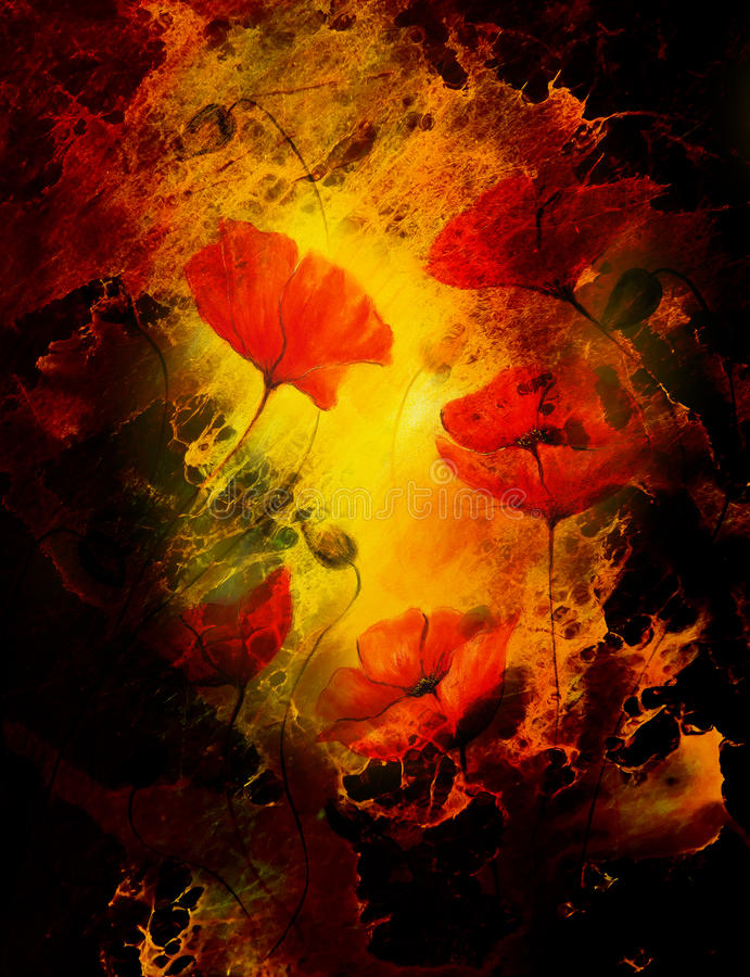 Poppy flower on abstract color background. Fire effect. Poppy flower on abstract color background. Fire effect vector illustration