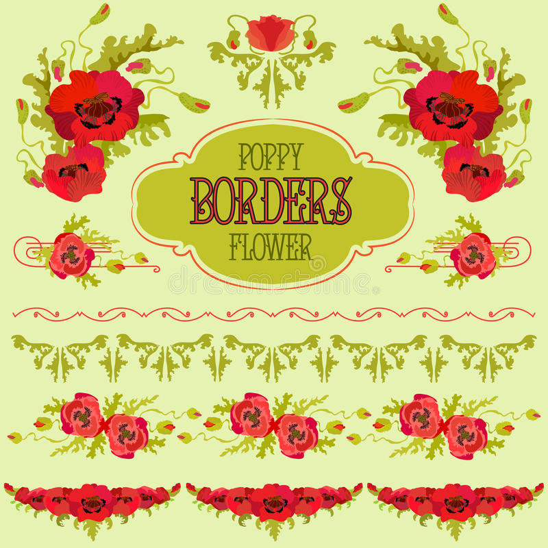 Poppy flower border elements set. Bouquets and garlands royalty free illustration