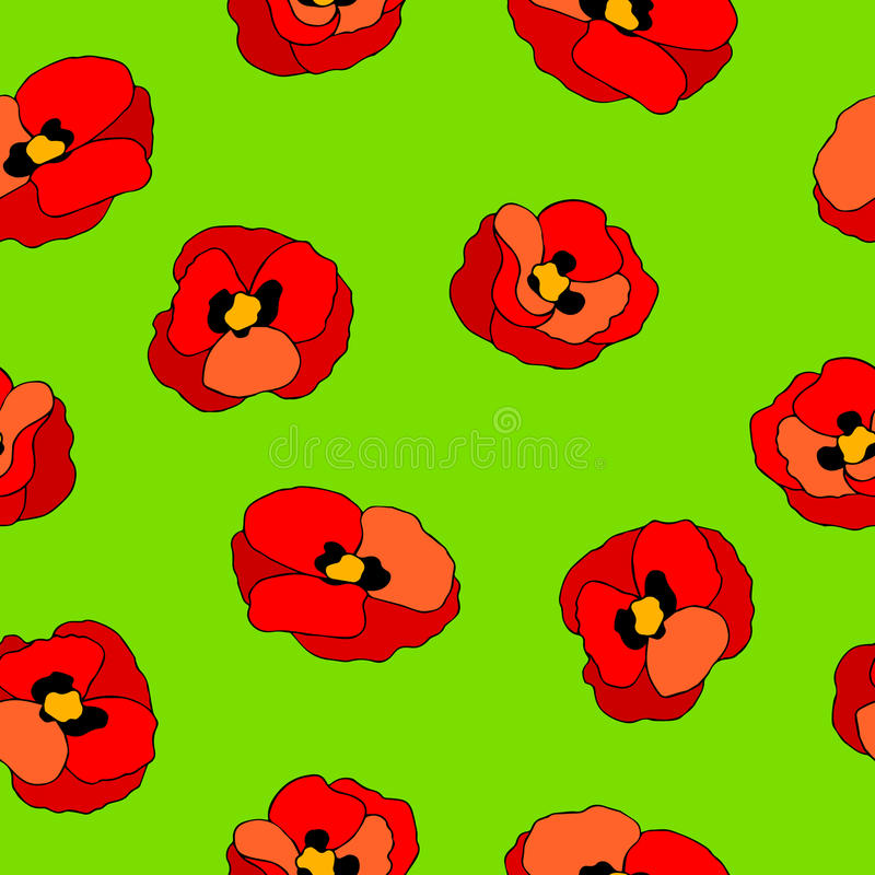 download poppy flower red green graphic art color seamless pattern illustration stock vector image