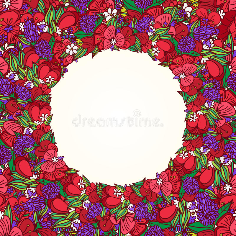 Download Poppy flower wreath stock illustration. Image of nature - 50373115