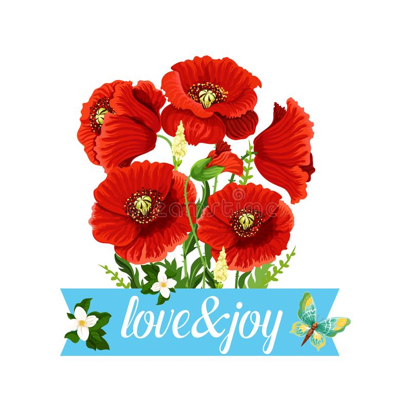 Poppy Flowers Bouquet Vector Spring Floral Icon Stock Vector ...