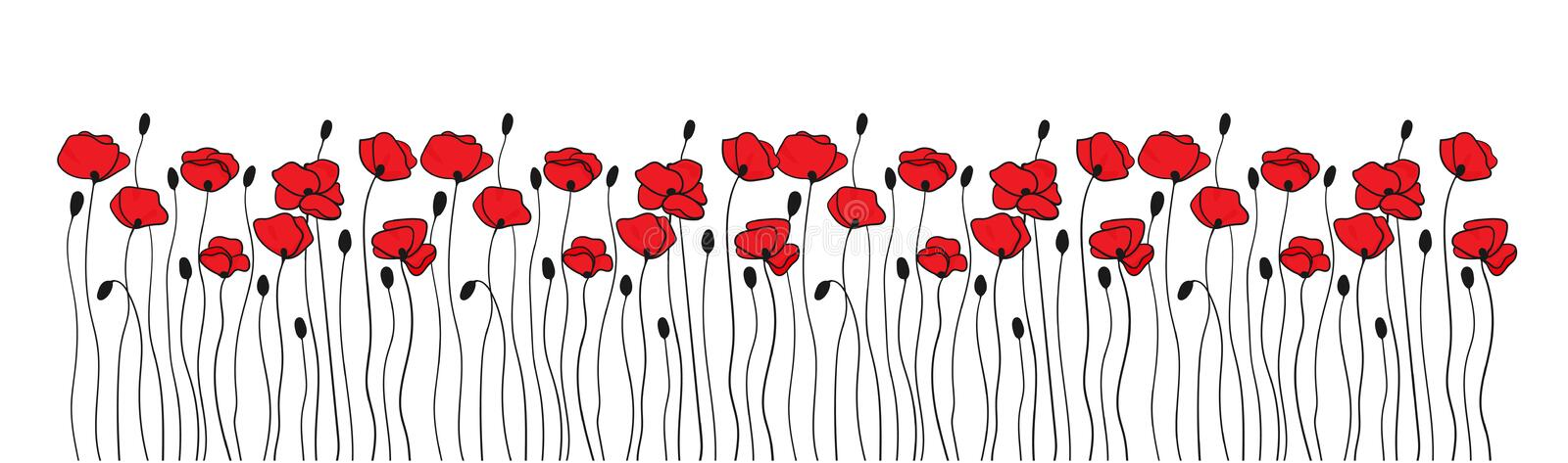 Poppy flowers and buds. Borders ornaments. Floral pattern in black and red. Vector royalty free illustration