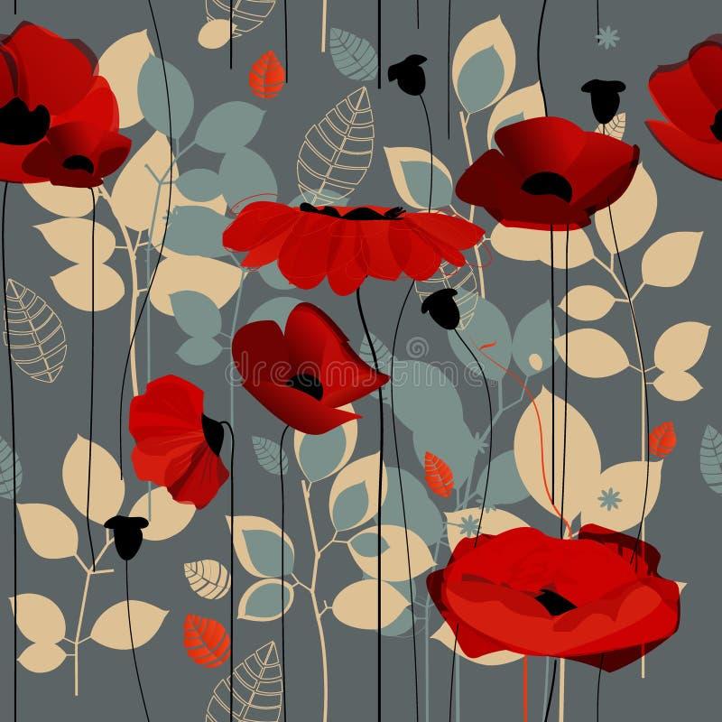 Poppy Flowers Pattern ilustração royalty free