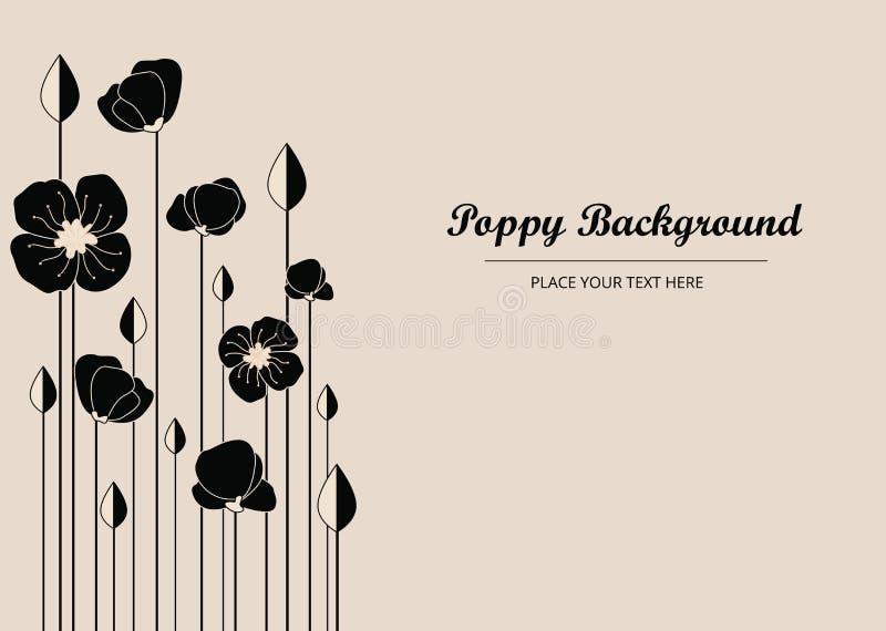 Poppy Flowers preta, fundo com papoilas - ilustração da bandeira do vetor ilustração stock