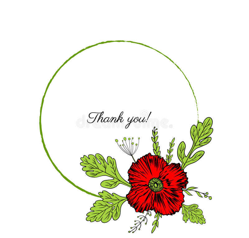 Poppy flowers wreath isolated on a white background, Round frame hand drawn doodle vector sketch herbal vintage graphic royalty free illustration