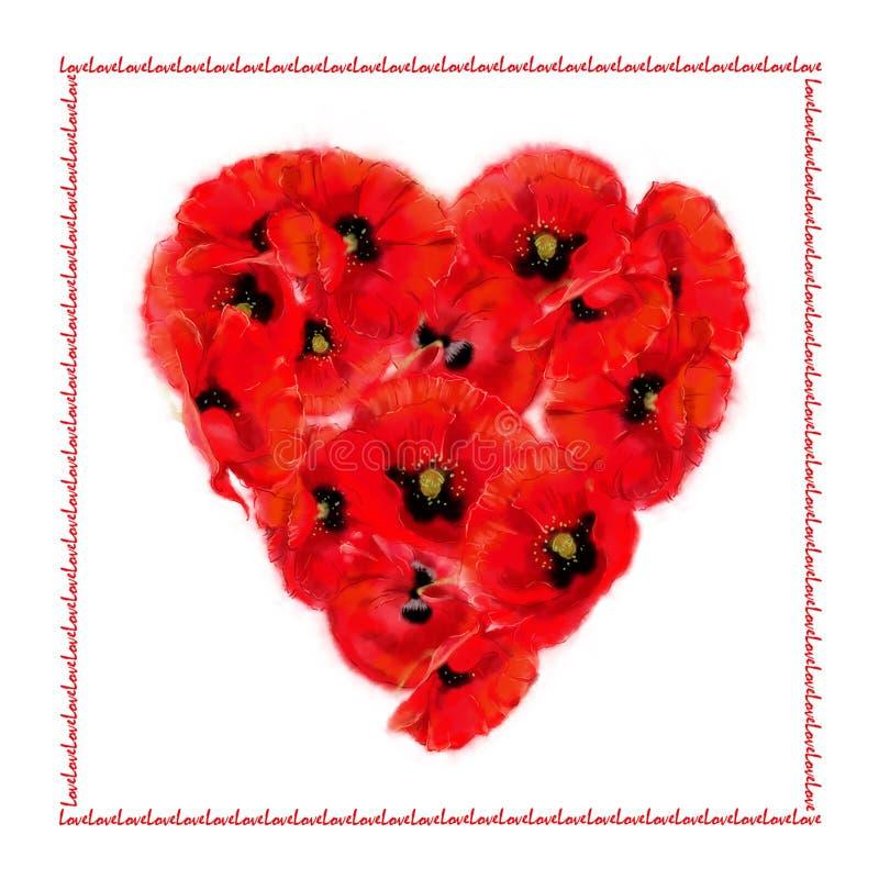 Poppy Heart Love Card vector illustratie
