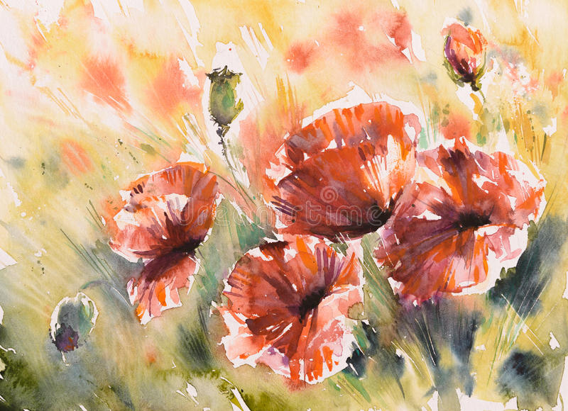 Poppy. Red poppy flowers on a field.Picture created with watercolors stock illustration