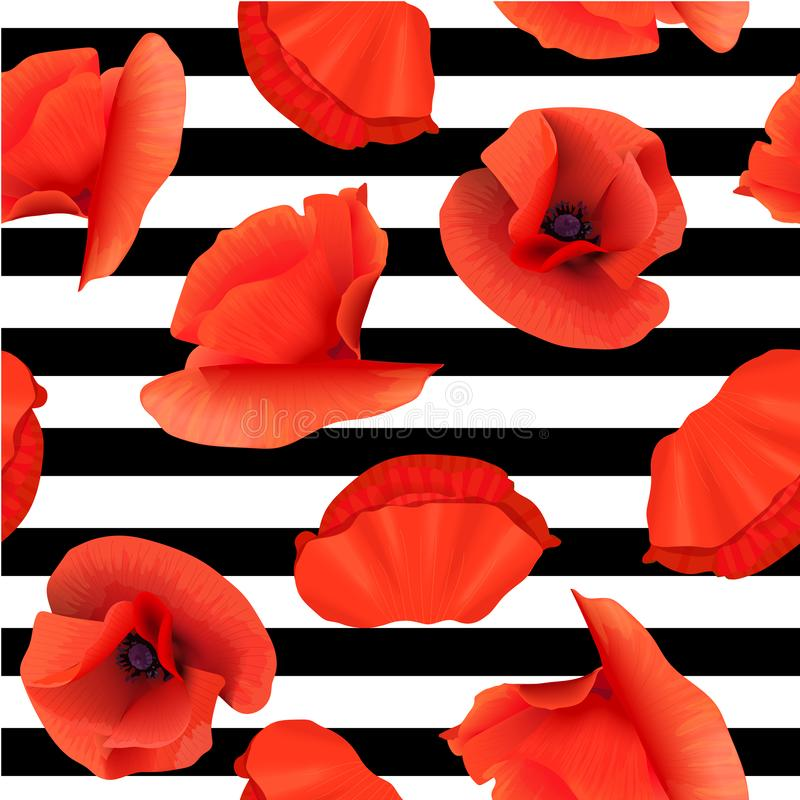 Free Poppy Red Flowers Seamless Pattern On Striped Black And White Background. Vector Illustration. Royalty Free Stock Photography - 151627117