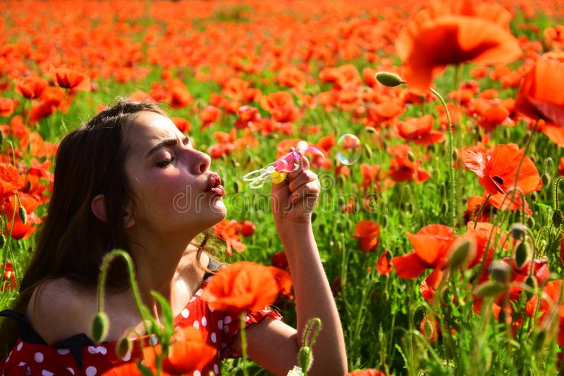 Poppy, Remembrance day, Anzac Day. Summer, spring, poppy flower. Opium poppy, youth, freshness, ecology, woman. Drug opium narcotics carelessness Woman blow stock image