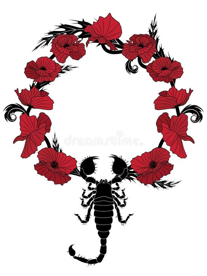 Poppy  And Scorpion Royalty Free Stock Photos