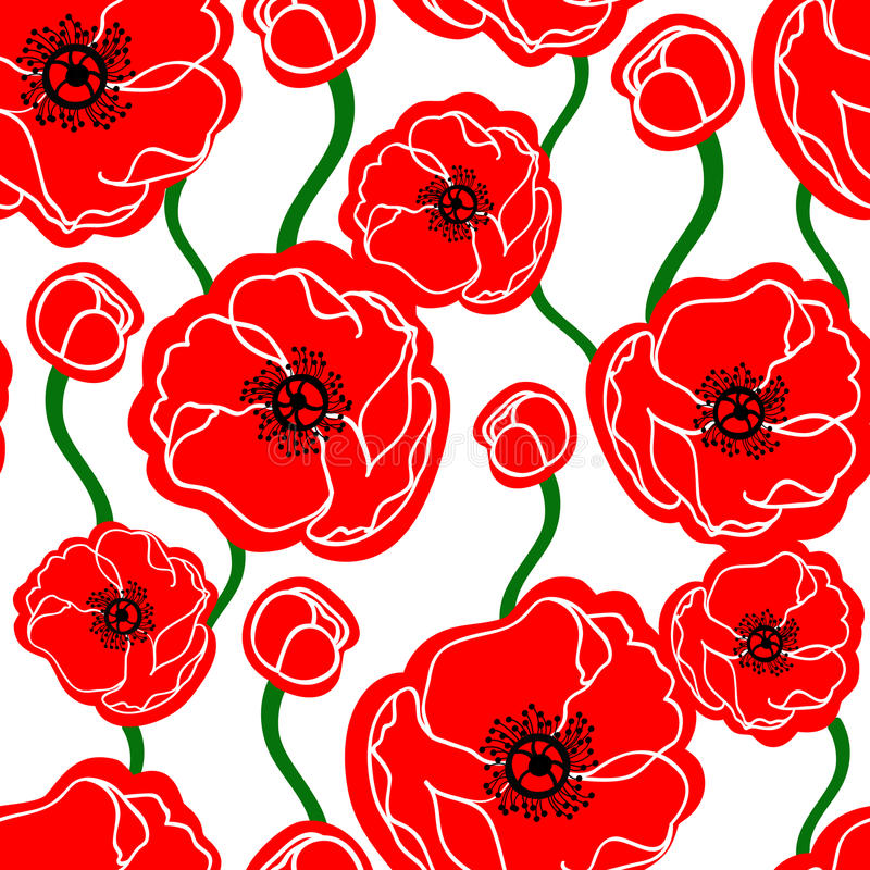 Poppy seamless pattern. Seamless pattern background with poppy flowers vector illustration