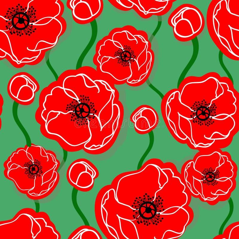 Poppy seamless pattern stock image