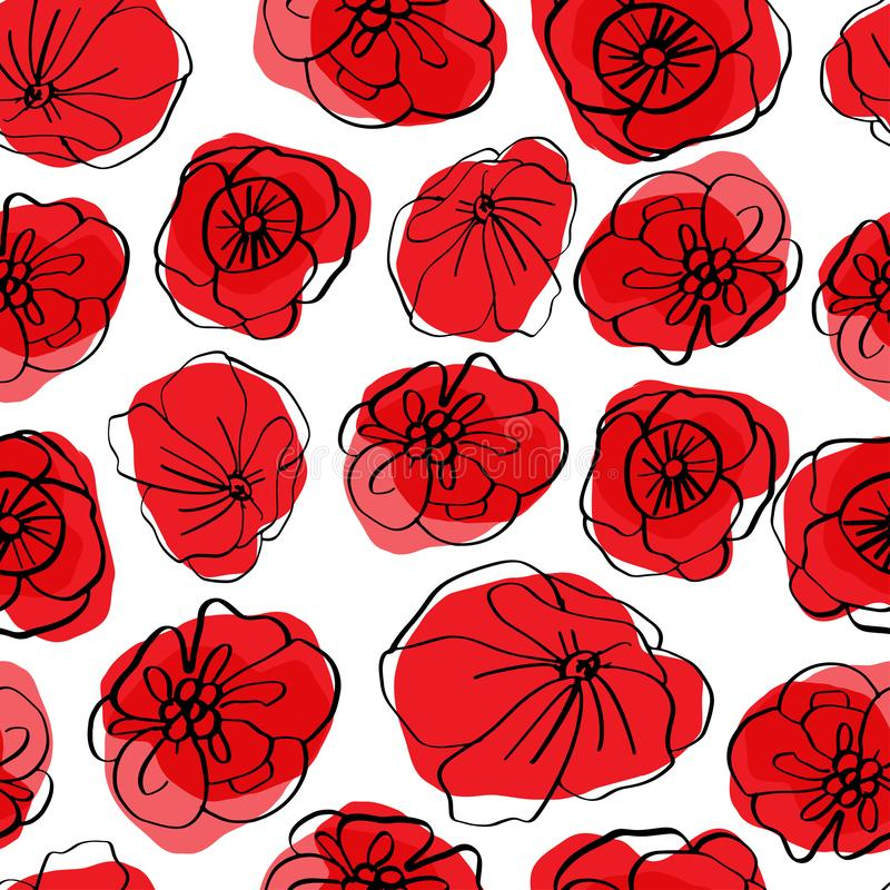 Poppy seamless pattern. Red poppies on white background. Can be uset for textile, wallpapers, prints and web design. Vector illustration vector illustration