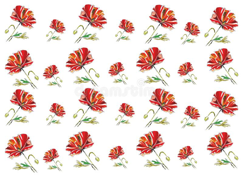Poppy seamless pattern. Vector illustration stock photography