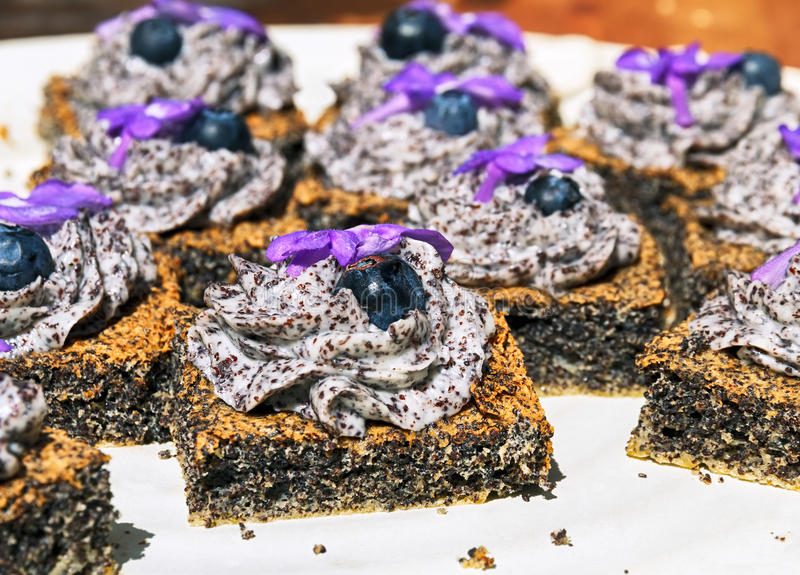Poppy seed cakes stock images