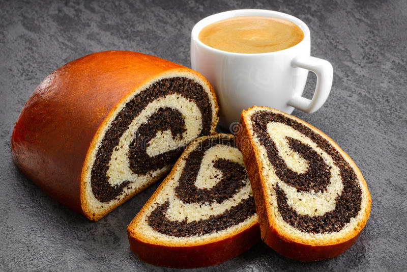 Poppy seed strudel and coffee royalty free stock photos