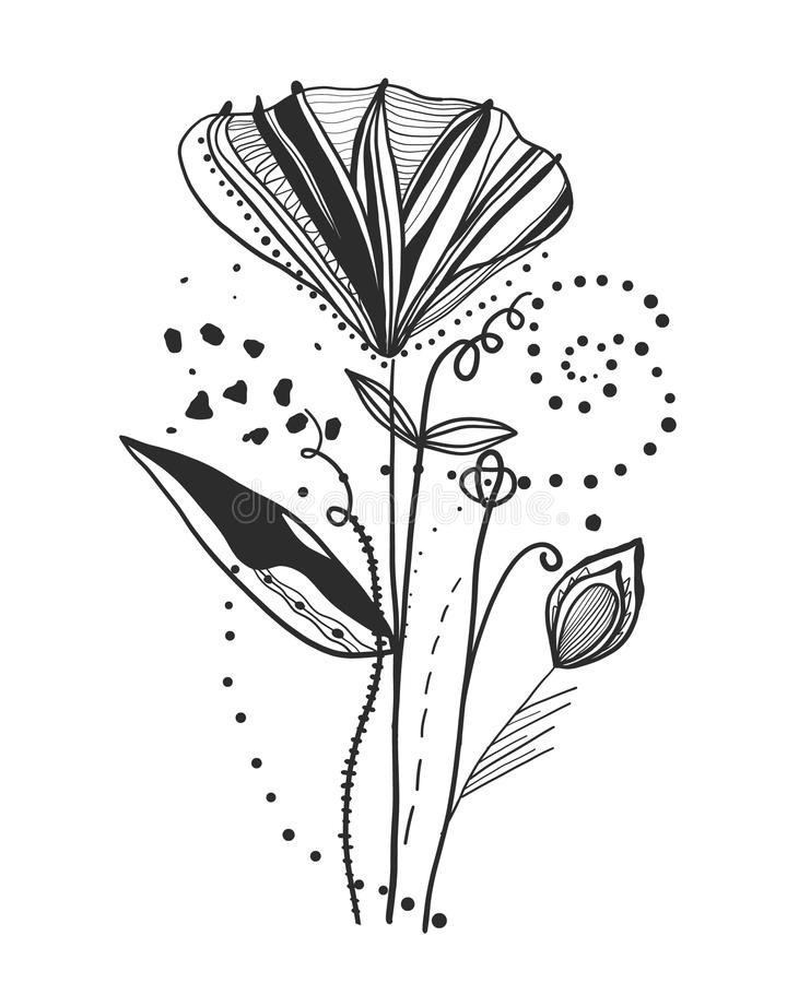 Poppy. Summer time abstract black flowers. Nature theme. Abstract poppy flower. Abstract tattoo design vector floral design royalty free illustration