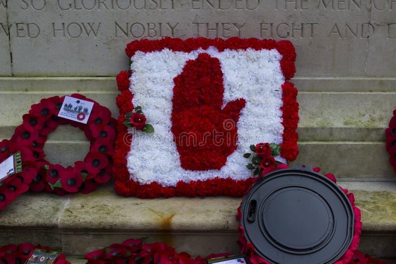 Poppy Wreaths en el cenotafio en ayuntamiento el ` s de Belfast enseguida después de la conmemoración de la batalla de Passchenda foto de archivo