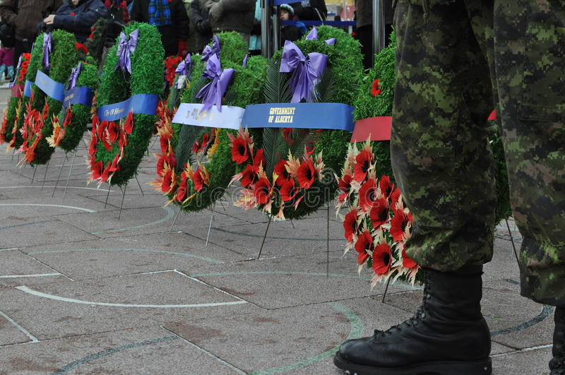 Download Poppy Wreaths At Foot Of Canadian Soldier Stock Image - Image of wreaths, poppy: 65257151