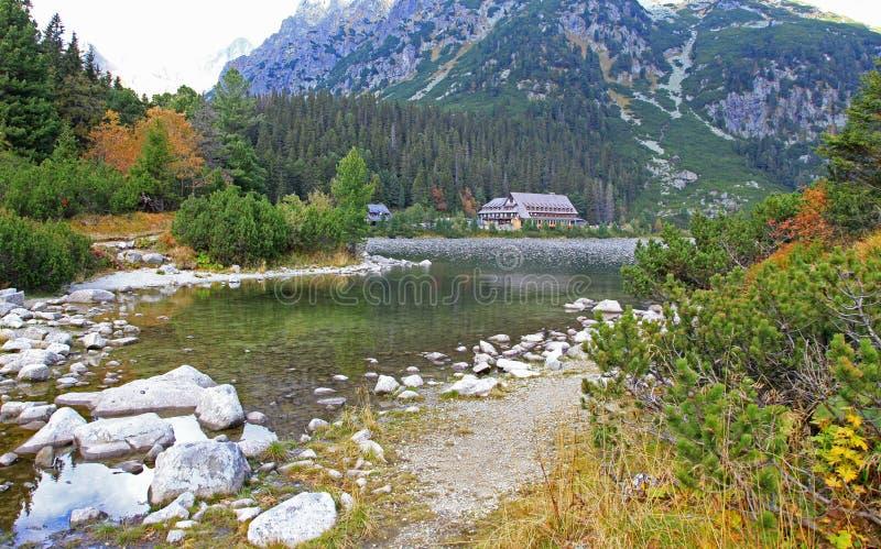 Popradske pleso -塔恩省在高Tatras,斯洛伐克 免版税库存照片