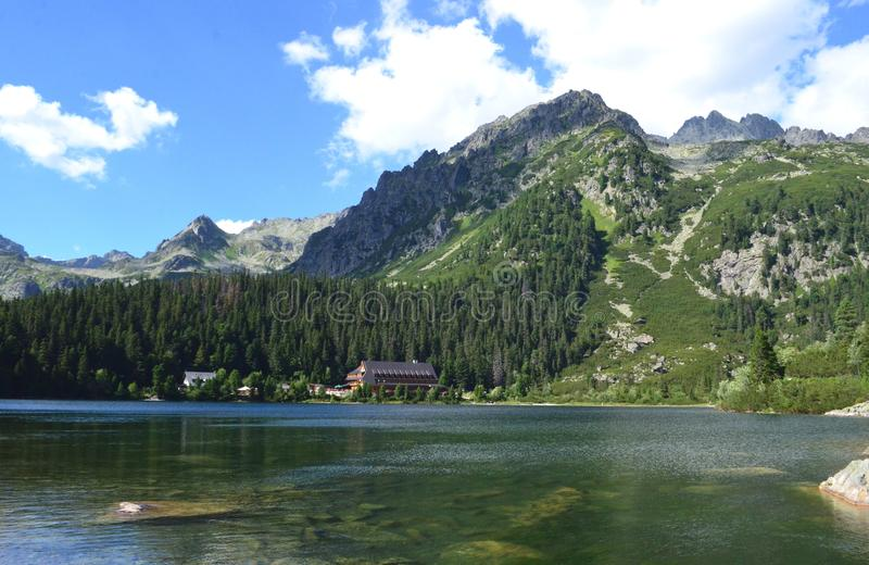 Popradske Pleso bergsjö i hög Tatras bergskedja i Slovakien - en härlig solig sommardag i en populär fotvandra och tra royaltyfri foto