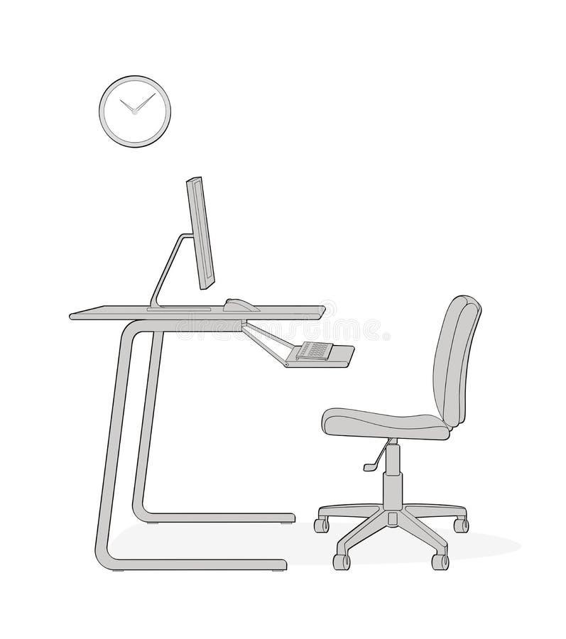 Poprawna organizacja komputerowa miejsce pracy Krzes?o, biurko, monitor, klawiatura, zegar pojedynczy bia?e t?o royalty ilustracja