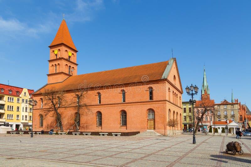 Poprzedni Ewangelicki kościół na Nowym miasteczko rynku w Toruńskim zdjęcia stock