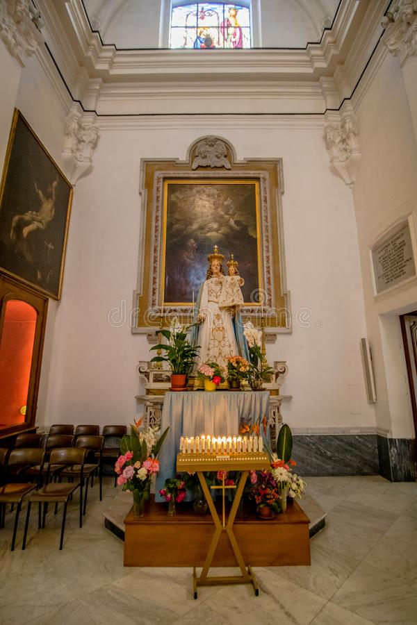 Poprzedni katedralny Santo Stefano w Capri, Włochy fotografia royalty free
