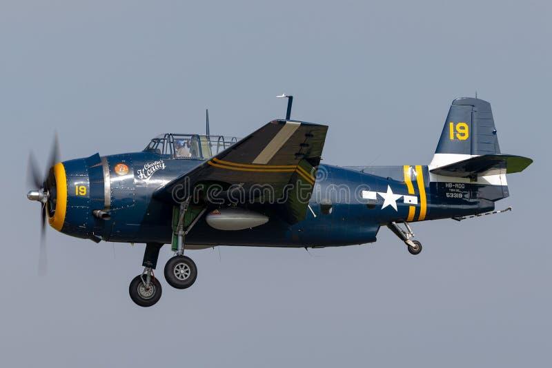 Poprzedni Stany Zjednoczone marynarki wojennej Grumman TBM mściciela petardy bombowiec samolot od drugiej wojny światowej obraz royalty free