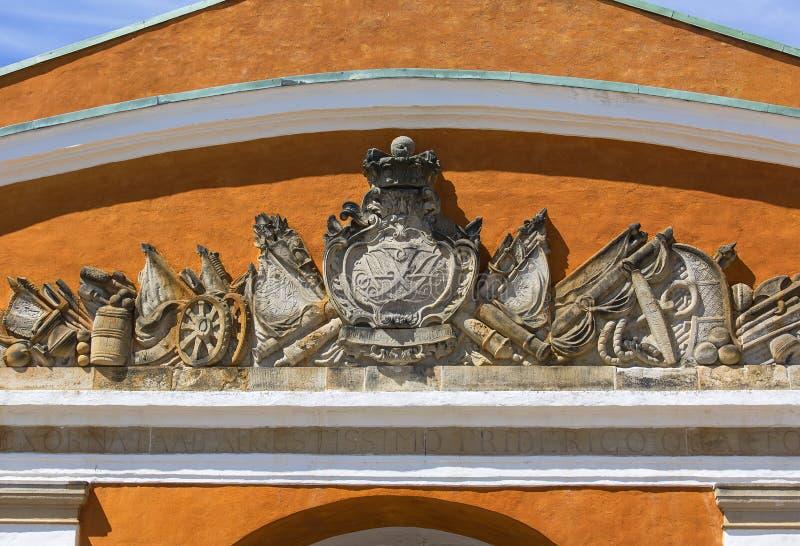 Poprzedni wojskowy koszaruje na obrzeżach Kronborg kasztel, Helsingor, Dani zdjęcia stock