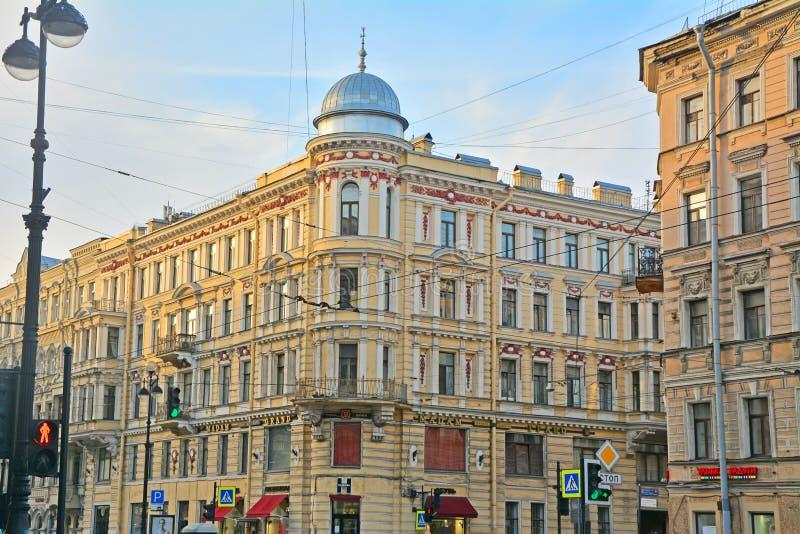 Poprzedni zyskowny dom Davydov na Nevsky alei w świętym Petersburg, Rosja obrazy royalty free