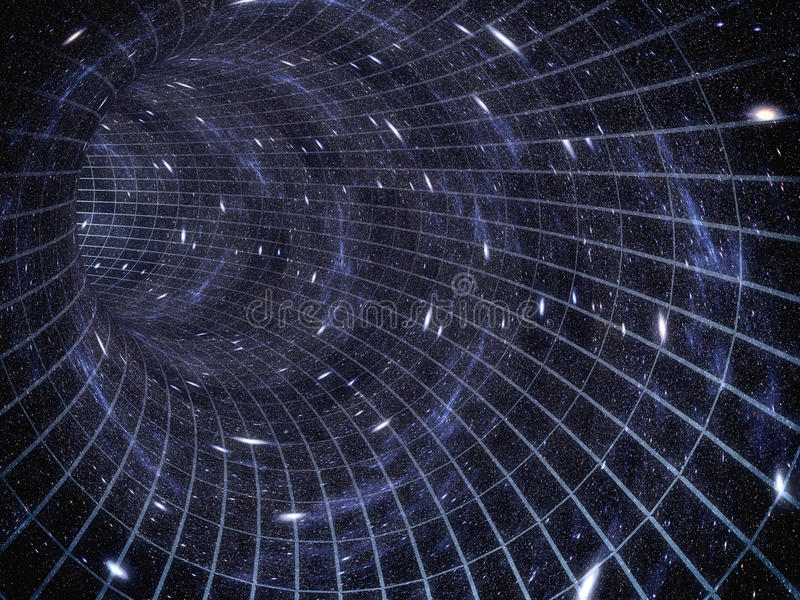 poprzez wszechświat Podróżować w przestrzeni Czas podróż ilustracja wektor