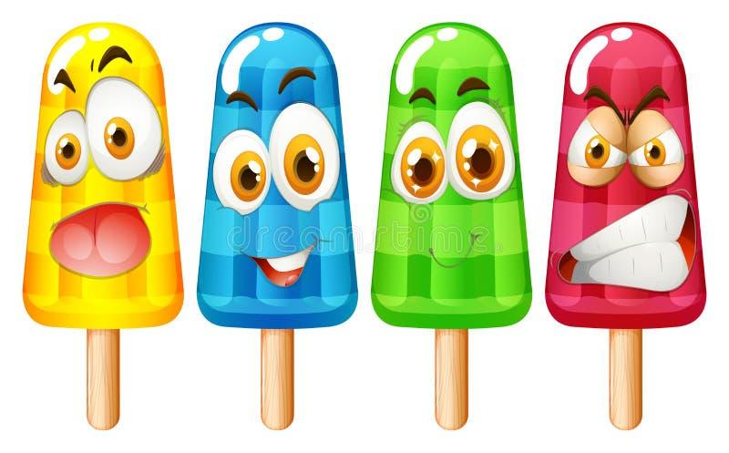 Popsicle με τη έκφραση του προσώπου ελεύθερη απεικόνιση δικαιώματος