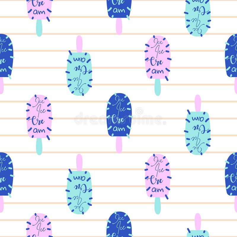 Popsicle fun bright seamless pattern vector. Ice cream pop art blue and pink background. stock illustration