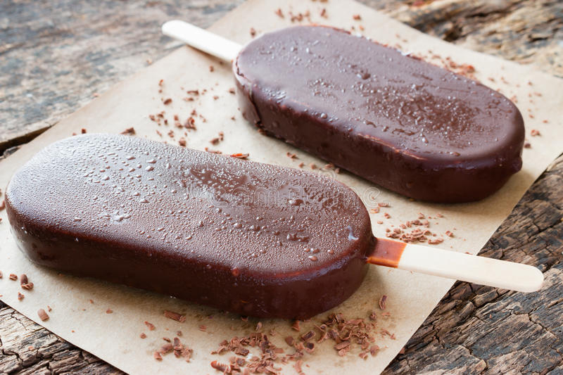 Popsicle with grated chocolate royalty free stock image