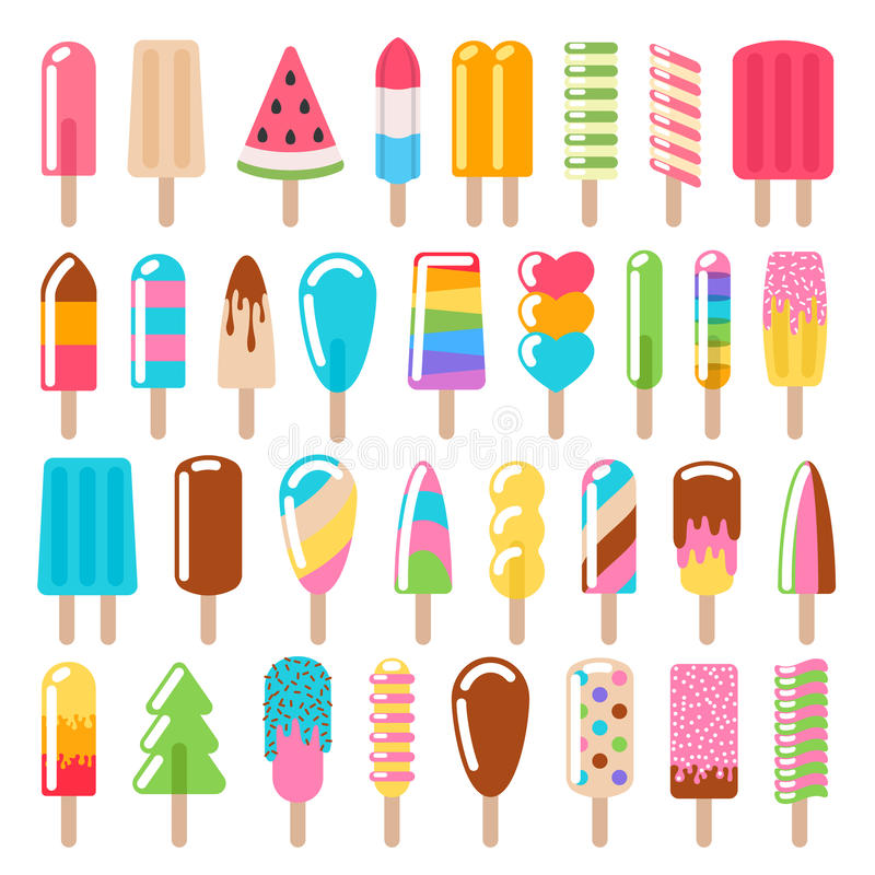 Popsicle ice cream icons set. vector illustration