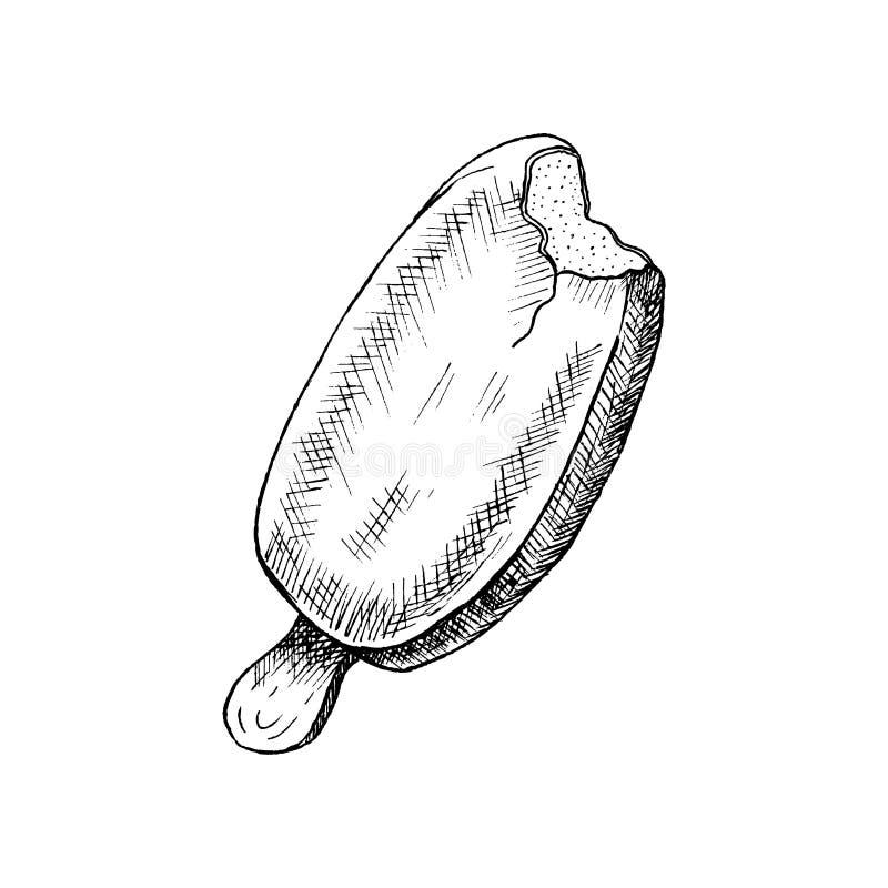 Popsicle lody nakreślenie Pociągany ręcznie popsicle lody, odizolowywający na białym tle r?wnie? zwr?ci? corel ilustracji wektora ilustracji